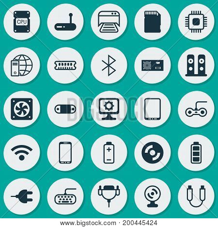 Computer Icons Set. Collection Of Wireless, Joystick, Cpu And Other Elements