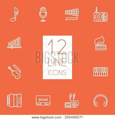 Collection Of Record, Vinyl, Harmonica And Other Elements.  Set Of 12 Song Outline Icons Set.