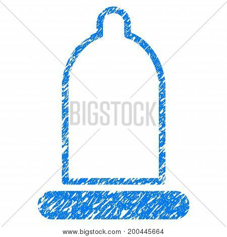 Grunge Preservative icon with grunge design and scratched texture. Unclean vector blue pictogram for rubber seal stamp imitations and watermarks. Draft sign symbol.