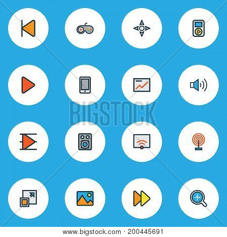 Multimedia Colorful Outline Icons Set. Collection Of Picture, Zoom In, Maximize And Other Elements