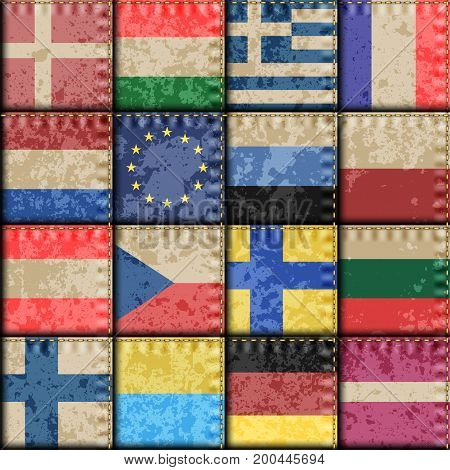 Seamless background pattern. Imitation of a retro patchwork of a Europe flags.