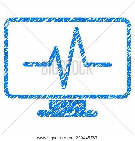 Grunge Pulse Monitoring icon with grunge design and dust texture. Unclean vector blue pictogram for rubber seal stamp imitations and watermarks. Draft sticker symbol.