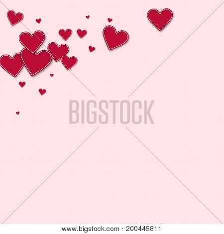 Cutout Red Paper Hearts. Top Left Corner On Light Pink Background. Vector Illustration.