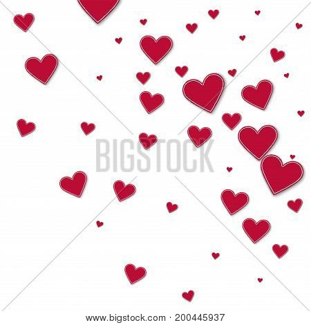 Cutout Red Paper Hearts. Random Gradient Scatter On White Background. Vector Illustration.