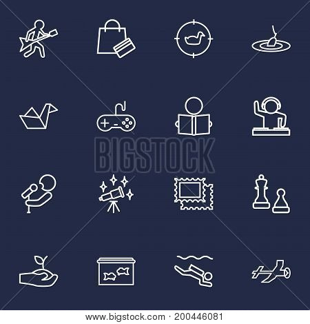 Collection Of Aeromodeling, Hunting, Shopping And Other Elements.  Set Of 16 Lifestyle Outline Icons Set.