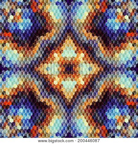 Seamless background. Geometric abstract diagonal pattern in low poly pixel art style. Small cubes.