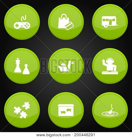 Collection Of Checkmate, Rod, Disco And Other Elements.  Set Of 9 Lifestyle Icons Set.