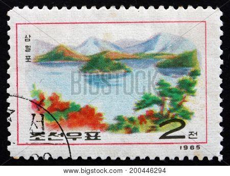 NORTH KOREA - CIRCA 1965: a stamp printed in North Korea shows Lake Samil Diamond Mountain Scenery circa 1965
