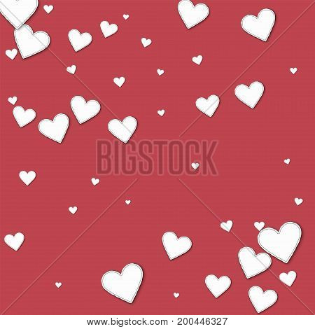 Cutout Paper Hearts. Scatter Pattern On Crimson Background. Vector Illustration.