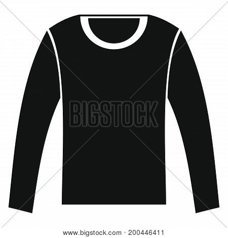 Man shirt with long sleeves in black simple silhouette style icons vector illustration for design and web isolated on white background. Man with long sleeves vector object for labels and logo