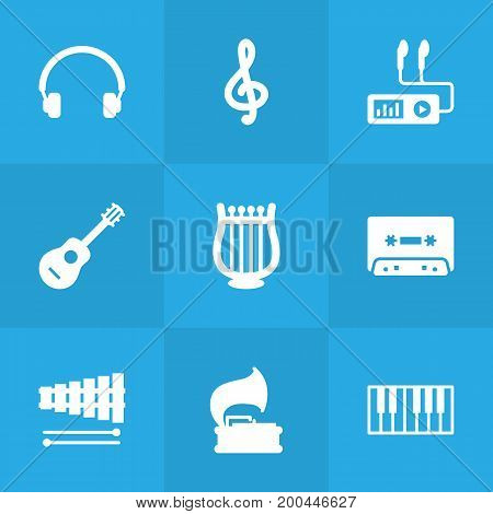 Collection Of Turntable, Audio Device, Quaver And Other Elements.  Set Of 9 Song Icons Set.