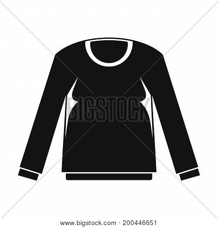 Shirt with long sleeves in black simple silhouette style icons vector illustration for design and web isolated on white background. Shirt with long sleeves vector object for labels and logo