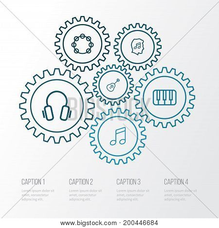 Music Outline Icons Set. Collection Of Earphones, Melody, Cover And Other Elements
