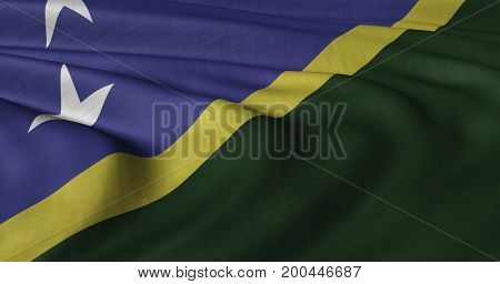 3D illustration of Solomon Islands flag fluttering in light breeze