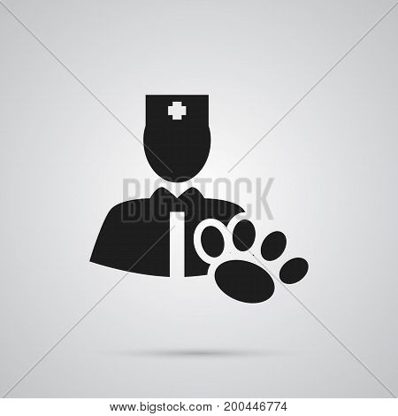 Vector Veterinarian Element In Trendy Style.  Isolated Vet Icon Symbol On Clean Background.