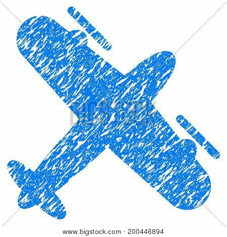 Grunge Screw Aeroplane icon with grunge design and dirty texture. Unclean vector blue pictogram for rubber seal stamp imitations and watermarks. Draft sticker symbol.