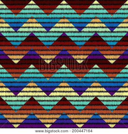 Imitation of geometric embroidery pattern. Colored lines on a black background. Ethnic and tribal motifs. Seamless vector background in the bohemian style.