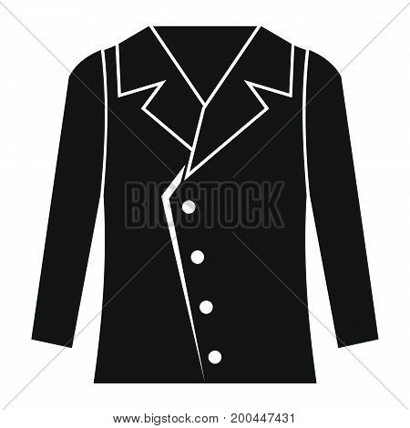 Jacket in black simple silhouette style icons vector illustration for design and web isolated on white background. Jacket object for labels and logo