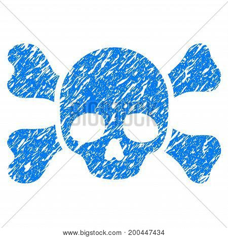 Grunge Skull And Bones icon with grunge design and dust texture. Unclean vector blue pictogram for rubber seal stamp imitations and watermarks. Draft sticker symbol.