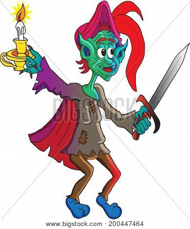 A goblin with his sword in hand and a lit candle ready to face any  enemy.
