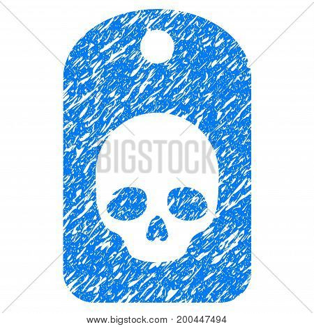 Grunge Skull Label icon with grunge design and unclean texture. Unclean vector blue pictogram for rubber seal stamp imitations and watermarks. Draft sign symbol.