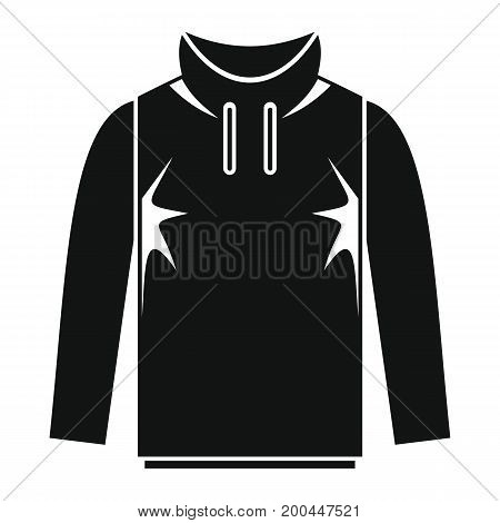 Hoodie in black simple silhouette style icons vector illustration for design and web isolated on white background. Hoodie vector object for labels and logo