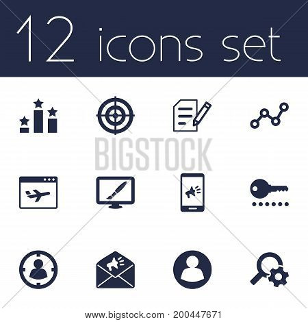 Collection Of Design, Password, Announcement And Other Elements.  Set Of 12 Engine Icons Set.