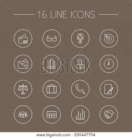 Collection Of Handset, Team, Business Center Elements.  Set Of 16 Business Outline Icons Set.