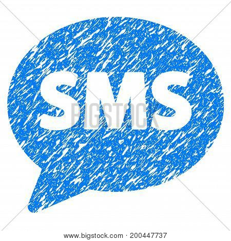 Grunge SMS icon with grunge design and dirty texture. Unclean vector blue pictogram for rubber seal stamp imitations and watermarks. Draft emblem symbol.
