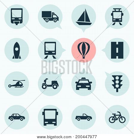 Transportation Icons Set. Collection Of Omnibus, Van, Railway And Other Elements
