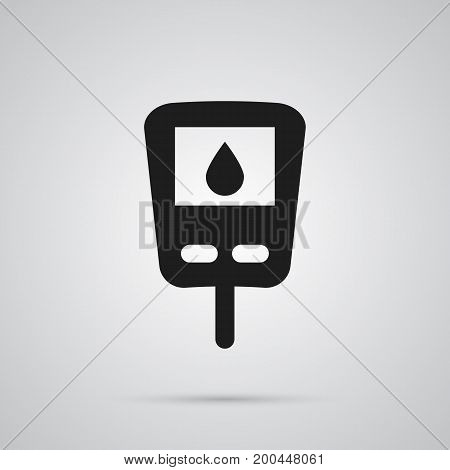 Vector Diabet Element In Trendy Style.  Isolated Glucometer Icon Symbol On Clean Background.