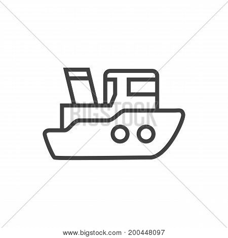 Vector Ship Element In Trendy Style.  Isolated Boat Outline Symbol On Clean Background.
