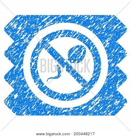 Grunge Spermicide Condom icon with grunge design and dust texture. Unclean vector blue pictogram for rubber seal stamp imitations and watermarks. Draft sticker symbol.