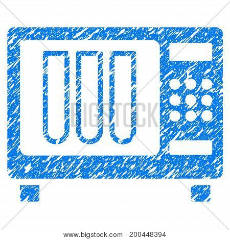 Grunge Sterilizer icon with grunge design and dust texture. Unclean vector blue pictogram for rubber seal stamp imitations and watermarks. Draft sign symbol.