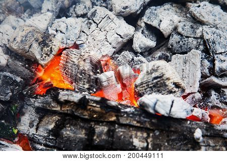Background. Wooden Embers Beautifully Glowing. Charcoal Embers Ready For Barbecue