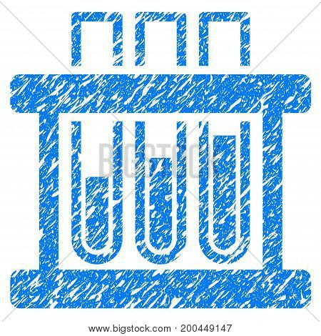 Grunge Test Tubes icon with grunge design and dust texture. Unclean vector blue pictogram for rubber seal stamp imitations and watermarks. Draft emblem symbol.
