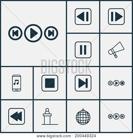 Multimedia Icons Set. Collection Of Audio Buttons, Mute Song, Audio Mobile And Other Elements