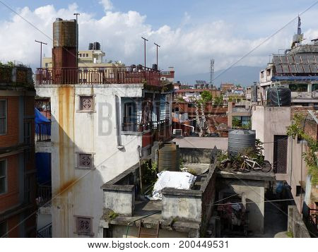 Roofs of Kathmandu, The Streets of Thamel, the tourist place of Kathmandu - capital of Nepal