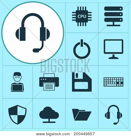Gadget Icons Set. Collection Of Programmer, Power On, Earphone And Other Elements