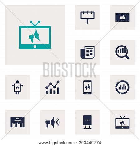 Collection Of Statistics, Application, Placard And Other Elements.  Set Of 12 Trade Icons Set.