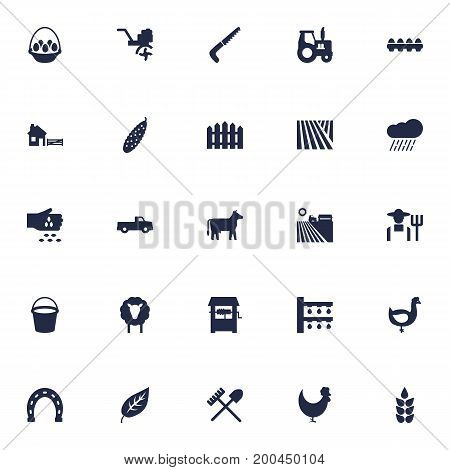 Collection Of Grain, Field, Farm Vehicle And Other Elements.  Set Of 25 Agriculture Icons Set.