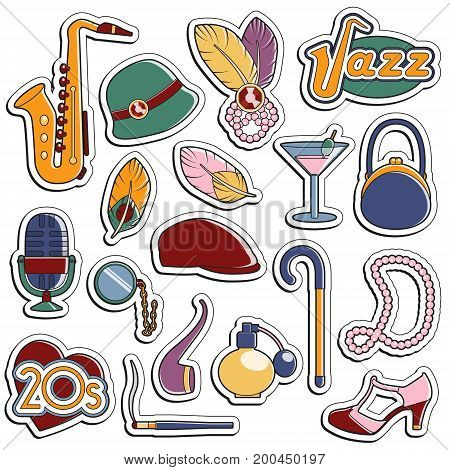 Collection of vintage retro 1920s style stickers that symbolize the 20s decade fashion accessories, style attributes, leisure items and innovations.