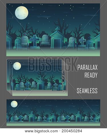 Spooky graveyard seamless parallax ready background for game and app design. Gravestone, tomb, cross, full moon, cemetry fence, crypt.