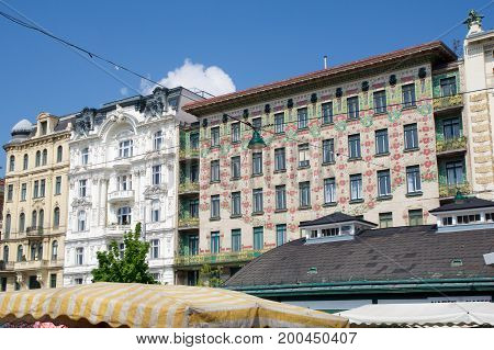VIENNA, AUSTRIA - APR 30th, 2017: The Majolica House Majolikahaus with its floral ornamentation near Naschmarkt in Vienna Austria famous example of Jugendstil art nouveau buildt by Otto Wagner in 1899.