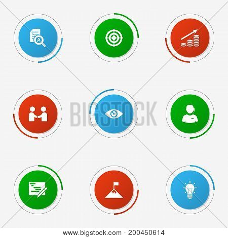 Collection Of Document Checking, Achievement, Vision And Other Elements.  Set Of 9 Idea Icons Set.