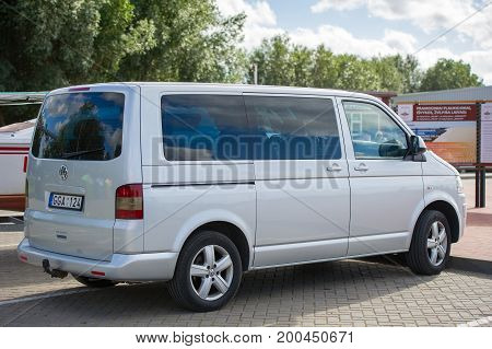 LITHUANIA - AUG 13: VW Transporter T5 on Aug. 13, 2017 in Lithuania. The Volkswagen Transporter/Caravelle/Multivan (T5) is a van produced by the German manufacturer Volkswagen Commercial Vehicles.