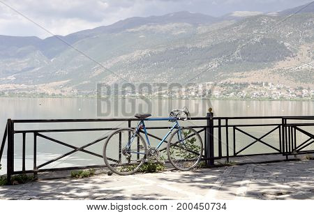 Bicycles parked near the lake close-up (Epirus region, Greece)