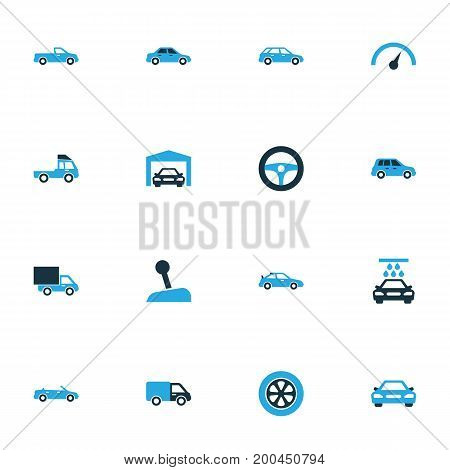 Automobile Colorful Icons Set. Collection Of Cabriolet, Vehicle Wash, Lorry And Other Elements