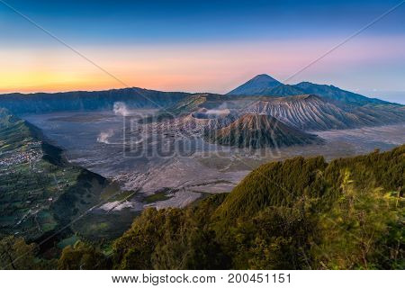 Mount Bromo volcano (Gunung Bromo) with sunrise colorful sky dawn at Bromo Tengger Semeru National Park East Java Indonesia.