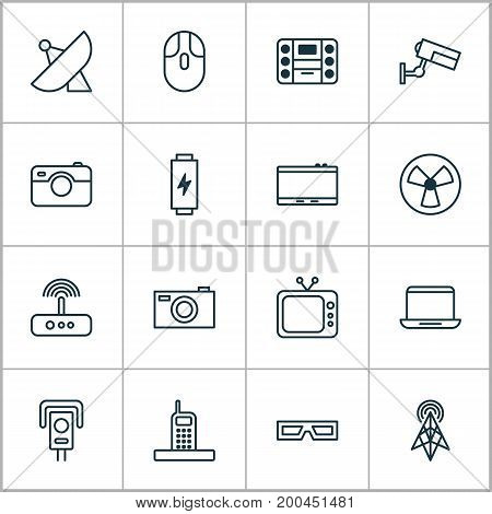Device Icons Set. Collection Of Surveillance, Notebook, Switch And Other Elements